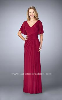 Picture of: V Neck Chiffon Prom Dress with Vintage Beading in Red, Style: 23160, Main Picture
