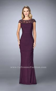 Picture of: Net Jersey Dress with Beading and Sheer Neckline in Purple, Style: 23215, Main Picture