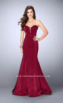 Picture of: Strapless Mermaid Dress with Corset Piping and Deep V in Red, Style: 23227, Main Picture