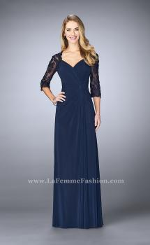 Picture of: Jersey Gown with Knot Detail and Lace Sleeves, Style: 23244, Main Picture