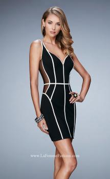 Picture of: Black Jersey Dress with Illusion Mesh Sides in Black, Style: 23254, Main Picture