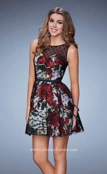 Picture of: Short Floral Print Dress With Polka Dot Overlay, Style: 23312, Main Picture