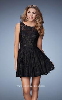 Picture of: Lace Homecoming Dress with High Neck and Full Skirt, Style: 23315, Main Picture