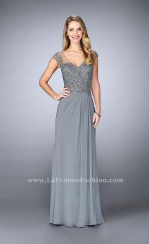 Picture of: Sheer Cap Sleeve Crepe Jersey Gown in Silver, Style: 23316, Main Picture