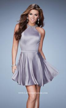 Picture of: Short Jersey Dress with Keyhole and Rhinestones in Silver, Style: 23365, Main Picture