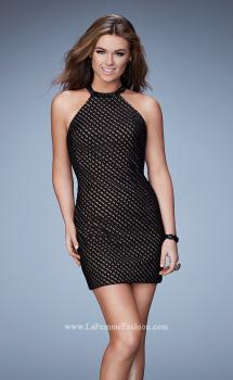 Picture of: Beaded Cocktail Dress with High Neckline in Black, Style: 23376, Main Picture