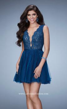 Picture of: Short Dress with Tulle Skirt and Rhinestones in Blue, Style: 23380, Main Picture