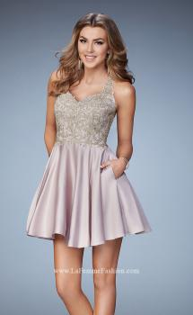 Picture of: Short A-line Dress with Beads, Lace, and Pockets in Nude, Style: 23393, Main Picture