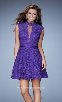 Picture of: Short Lace Dress with high Neckline and Open Back, Style: 23409, Main Picture
