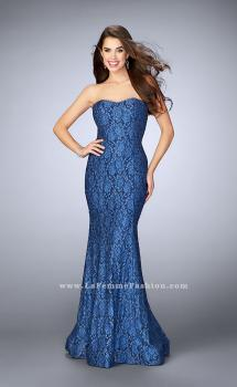 Picture of: Lace Mermaid Dress with Strapless Sweetheart Neckline in Blue, Style: 23410, Main Picture