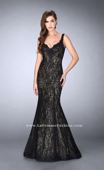Picture of: Beaded Lace Mermaid Homecoming Dress in Black, Style: 23413, Main Picture