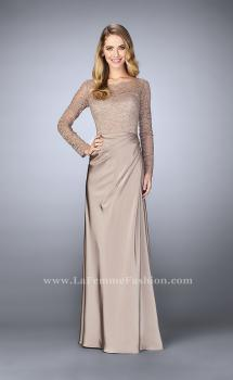 Picture of: Beaded Lace Bodice Evening Dress with Sheer Sleeves in Brown, Style: 23435, Main Picture
