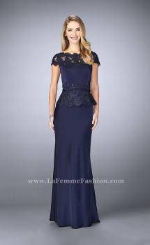 Picture of: Belted Evening Dress with Embroidered Peplum in Blue, Style: 23444, Main Picture
