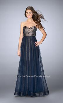 Picture of: Long A-Line Dress with Tulle Skirt and Gold Lining in Blue, Style: 23455, Main Picture