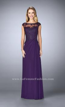 Picture of: Net evening Gown with Sheer Neckline in Purple, Style: 23456, Main Picture