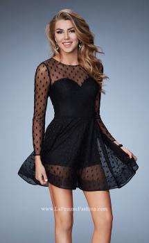 Picture of: Long Sleeve Sheer Polka Dot Dress With Shorts, Style: 23460, Main Picture