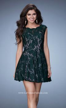 Picture of: Scalloped Lace Short Sleeve Homecoming Dress, Style: 23467, Main Picture