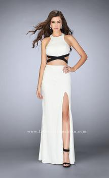 Picture of: Fitted Black and White Homecoming Dress with Cut Outs in White, Style: 23468, Main Picture