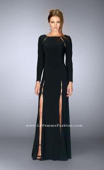 Picture of: Long Sleeve Dress with Rhinestone Shoulders in Black, Style: 23479, Main Picture