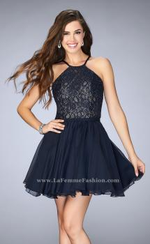 Picture of: High Neck Short Dress with Lace Bodice in Blue, Style: 23483, Main Picture