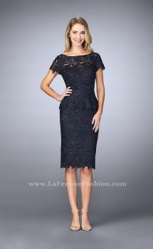 Picture of: Knee Length Peplum Lace Dress with Thin Belt in Blue, Style: 23505, Main Picture