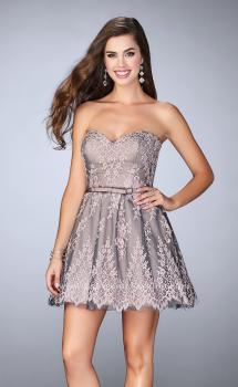Picture of: Short Homecoming Dress with Scalloped Hem and Bow, Style: 23519, Main Picture