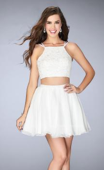 Picture of: Short Lace Two Piece Dress with a Strappy Back in White, Style: 23531, Main Picture