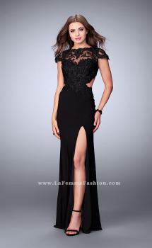 Picture of: Fitted Lace Dress with Jersey Skirt and Open Back., Style: 23561, Main Picture