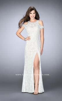 Picture of: Cold Shoulder Lace Dress with Side Slit and Open Back in White, Style: 23565, Main Picture