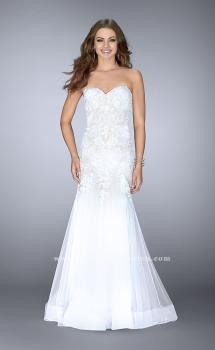 Picture of: Strapless Sweetheart Dress with Tulle Mermaid Skirt in White, Style: 23578, Main Picture