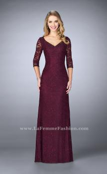 Picture of: Floor Length Beaded Dress with 3/4 Sleeves in Purple, Style: 23588, Main Picture