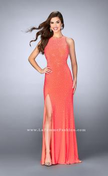 Picture of: Fitted Jersey Dress with Rhinestones and a Strappy Back in Orange, Style: 23601, Main Picture