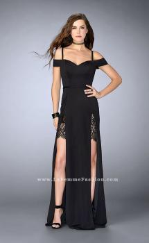 Picture of: Double Slit Off the Shoulder Dress with Lace Inlays, Style: 23607, Main Picture