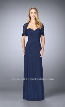 Picture of: Evening Dress with Attached Shoulder Wrap in Blue, Style: 23623, Main Picture