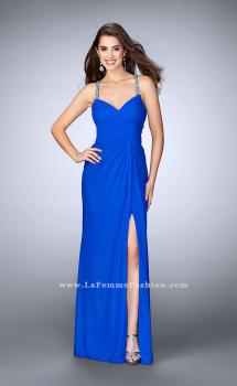 Picture of: Long Gown with Embellishments and Gathered Bodice in Blue, Style: 23636, Main Picture