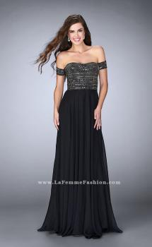 Picture of: Off the Shoulder Long Prom Dress with Beaded Bodice, Style: 23644, Main Picture