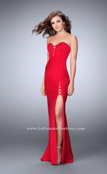 Picture of: Strapless Jersey Dress with Lace Up Neckline and Slit, Style: 23650, Main Picture