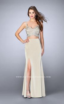 Picture of: Illusion Two Piece Dress with Beaded Top and Fitted Skirt, Style: 23653, Main Picture