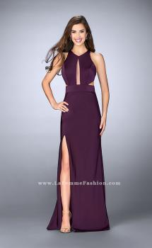Picture of: Fitted Jersey Dress with a High Neckline and Open Back in Purple, Style: 23655, Main Picture