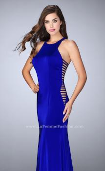 Picture of: Racer Back Jersey Prom Dress with Side Cut Outs, Style: 23665, Main Picture