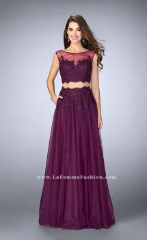 Picture of: Lace Two Piece Dress with a High Neck and Tulle Skirt, Style: 23666, Main Picture