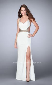 Picture of: Fitted Prom Dress with Beaded Straps and Open Back in White, Style: 23683, Main Picture