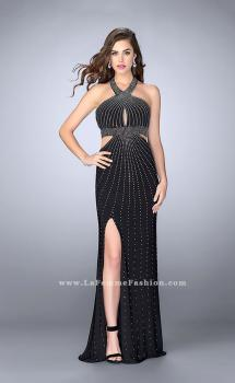 Picture of: Prom Dress with Rhinestones and Racer Back in Black, Style: 23706, Main Picture