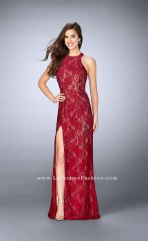 Picture of: High Neck Lace Dress with Scalloped Back and Slit in Red, Style: 23708, Main Picture