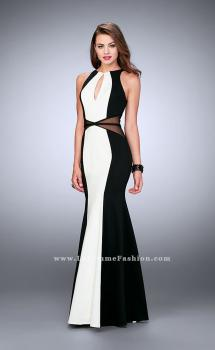 Picture of: Long Prom Dress with Sheer Side Cut Outs and Belt in Black, Style: 23711, Main Picture