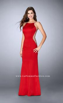 Picture of: Long Prom Gown with High Neck and Beaded Cut Outs in Red, Style: 23718, Main Picture
