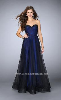Picture of: Strapless Dress with Rhinestones and a Tulle Overlay in Blue, Style: 23723, Main Picture