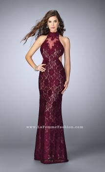 Picture of: High Collar Lace Prom Dress with Illusion Neckline in Red, Style: 23732, Main Picture