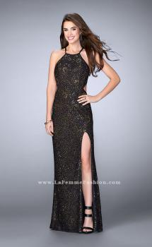 Picture of: High Neck Lace Gown with Side Cut Outs and Open Back in Black, Style: 23744, Main Picture