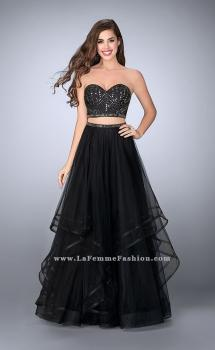 Picture of: Beaded Two Piece Dress with Layered Skirt and Corset in Black, Style: 23753, Main Picture